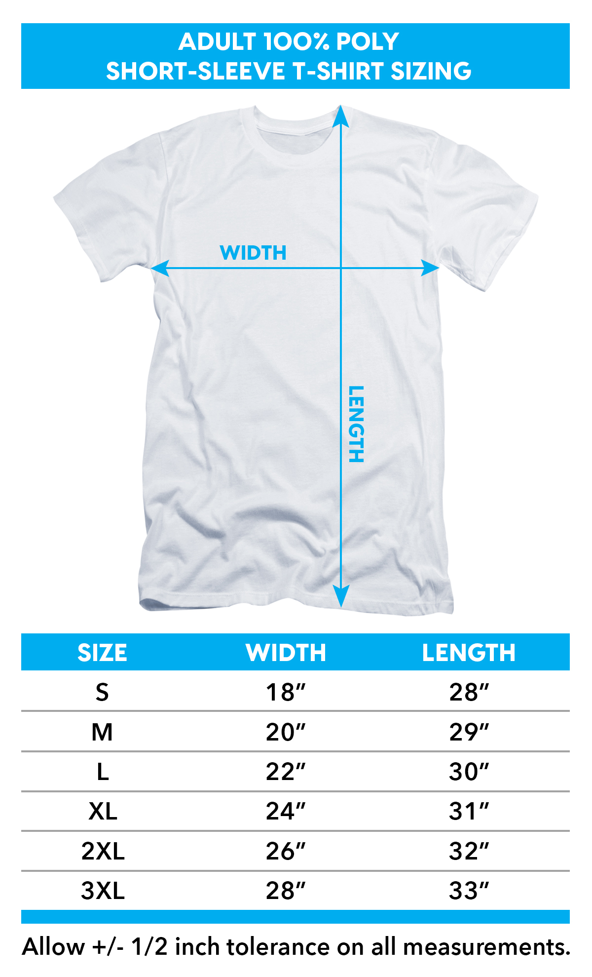 Sizing Chart for Alien T-Shirt - Sublimated Green Ranger Uniform