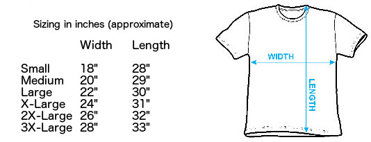 Sizing chart for The Velvet Underground Featuring Nico T-Shirt IMP-VU50
